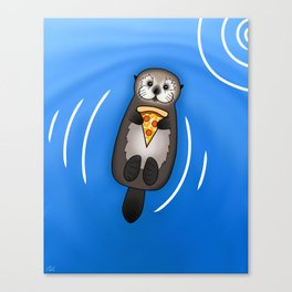 Sea Otter with Pizza Canvas Print