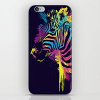 zebra iPhone & iPod Skins featuring Zebra Splatters by Olechka