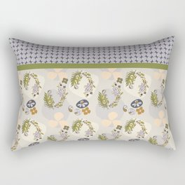 Stone Pop Floral Japanese-inspired Japandi Design Rectangular Pillow