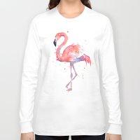 flamingo Long Sleeve T-shirts featuring Flamingo  by Olechka