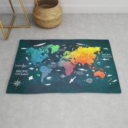 Ocean World Map color #map #worldmap Rug