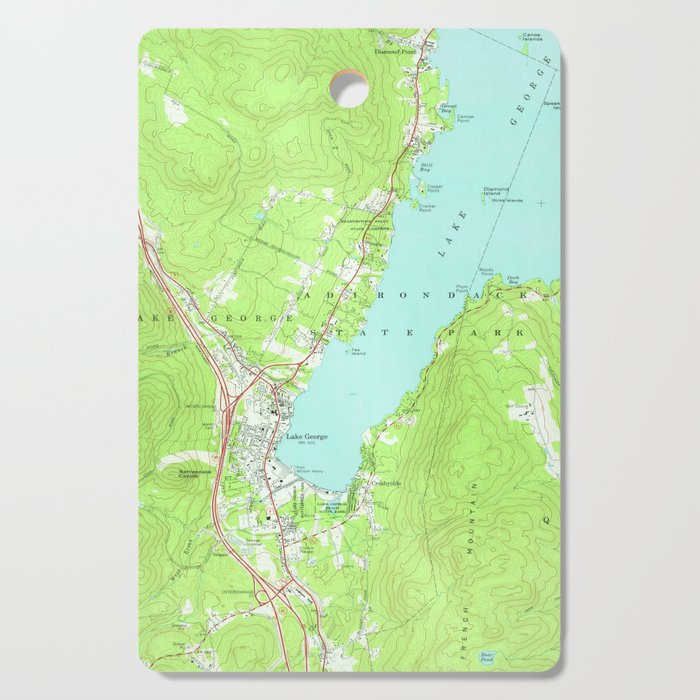 Vintage Map of Lake George New York (1966) 2 Cutting Board by bravuramedia