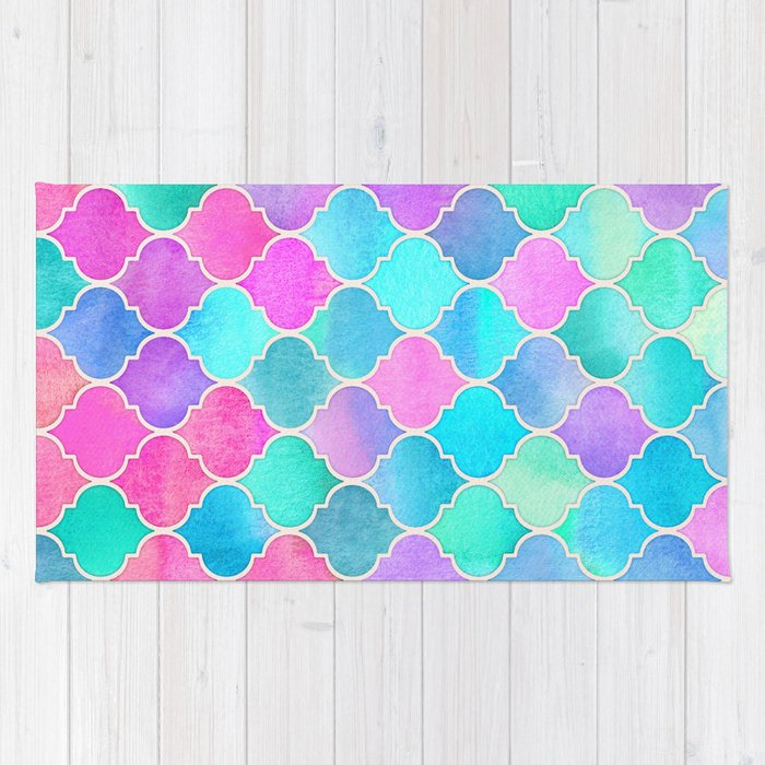 Bright Moroccan Morning - pretty pastel color pattern Rug