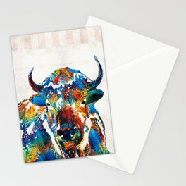 Colorful Buffalo Art - Sacred - By Sharon Cummings Stationery Cards