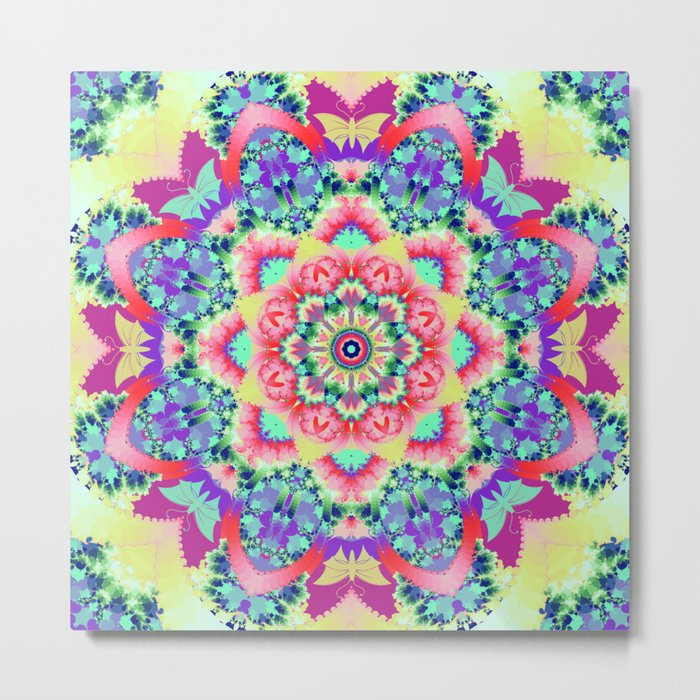 Whimsical floral kaleidoscope with butterflies Metal Print
