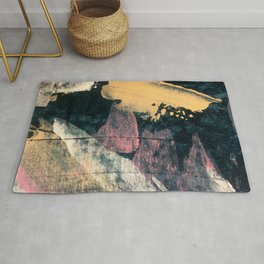 Halley's Comet - a mixed media piece in dark blue, cream, pink, and white Rug