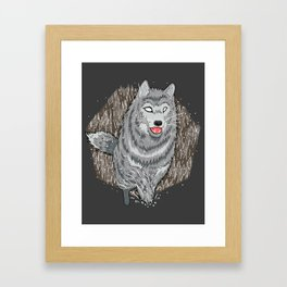 Husky in Winter Framed Art Print