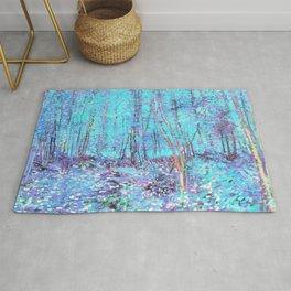 Van Gogh Trees & Underwood Aqua Lavender Rug