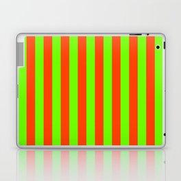 Super Bright Neon Orange and Green Vertical Beach Hut Stripes Laptop & iPad Skin