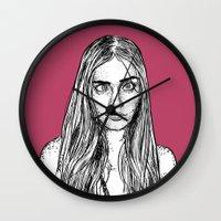 cara delevingne Wall Clocks featuring Cara Delevingne by Sharin Yofitasari