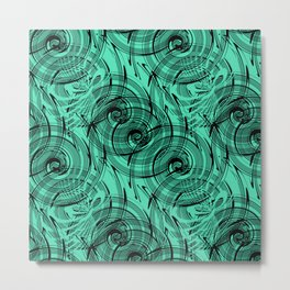 Turquoise , black , abstraction , spiral Metal Print