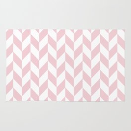 Pink and White Herringbone Pattern Rug