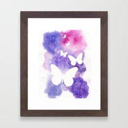 Watercolor & Butterfly Print Framed Art Print