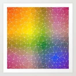 Triangulated Rainbow Dotted Pattern Art Print