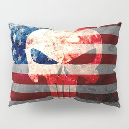 Skull and American Flag on Distressed Metal Pillow Sham