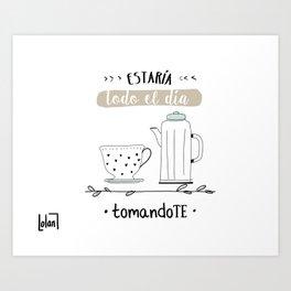 Tomando Té Art Print