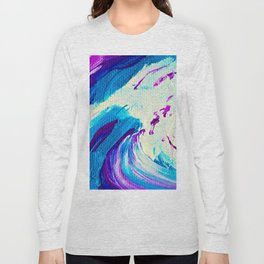 Abstract Acrylic Painting_Blue Purple & White Long Sleeve T-shirt