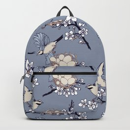 Spring birds and nests in bloom Backpack