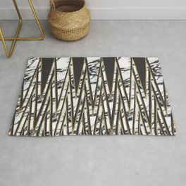 Modern Long Marble Gold and Black Triangles Rug