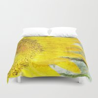 sunflower Duvet Covers featuring Sunflower by Maria Heyens