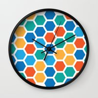 hexagon Wall Clocks featuring Hexagon by Danielle Arrington