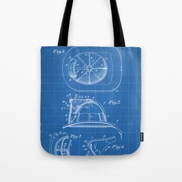 Firemans Helmet Patent - Fire Fighter Art - Blueprint Tote Bag
