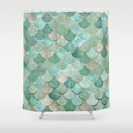 Moroccan Mermaid Fish Scale Pattern, Green and Gold Shower Curtain