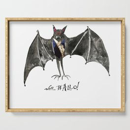 Halloween Welcome to the Ball Vampire Bat Greeting Card Serving Tray