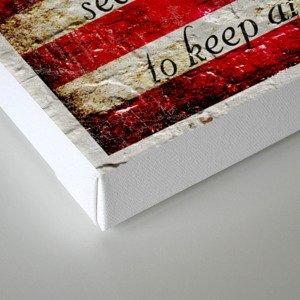 Distressed American Flag and 2nd Amendment On White Bricks Wall Canvas Print
