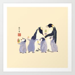 Emperor Penguin Family in the summer of Japan Art Print