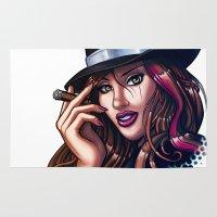 gangster Area & Throw Rugs featuring Smoking Gangster Girl by Ben Krefta