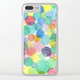 Splash of Life abstract modern acrylic painting colorful polkadots pattern splatter drawing Clear iPhone Case