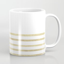 White and Gold Stripes Coffee Mug