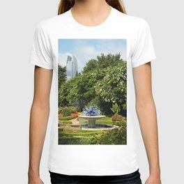 Photo California USA Fountains Earl Burns Miller Japanese Garden Nature Gardens Bush Trees Shrubs T-shirt