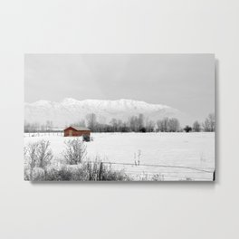 Mt Timpanogos with Red Barn Metal Print