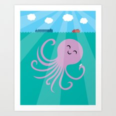 Octopus Selfie Art Print