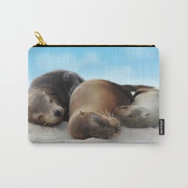 Sea lions family sleeping together on beach Carry-All Pouch