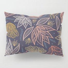 Bohemian Florals in Blue + Coral Pillow Sham