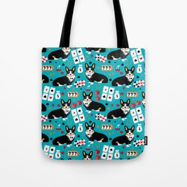 Welsh Corgi tricolored fancy poker night blackjack casino corgis cute dog breed gifts Tote Bag
