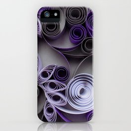 Purple Grey Love Heart Paper Quilled Colorful Heart Wedding Anniversary Gift iPhone Case