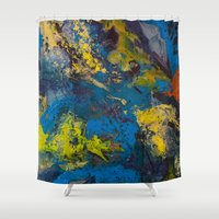 cosmic Shower Curtains featuring Cosmic by yellowbunnies