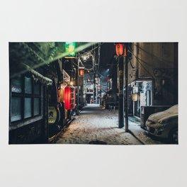 Japan Tokyo alley at Snowy Night Rug