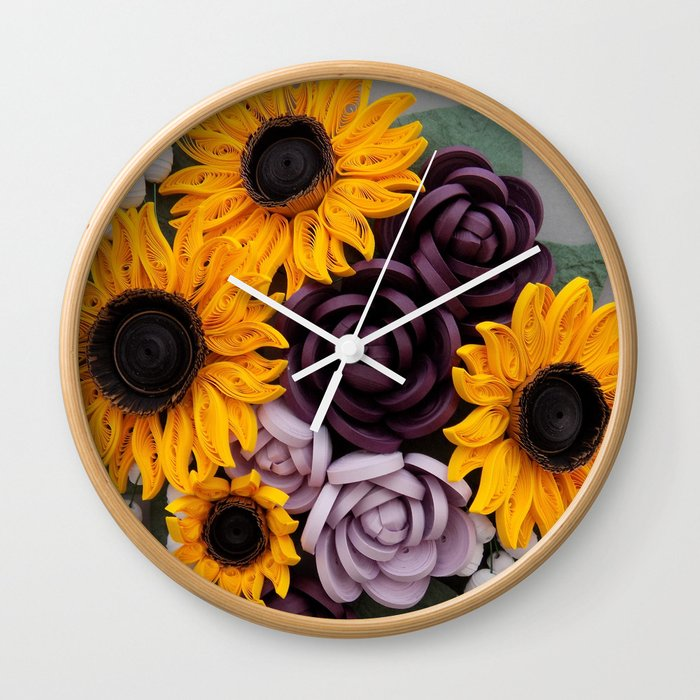 sunflowers roses paper quilled flowers wall clock
