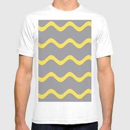 Soft Rippled Horizontal Line Pattern Pantone 2021 Color Of The Year Illuminating and Ultimate Gray  T-shirt