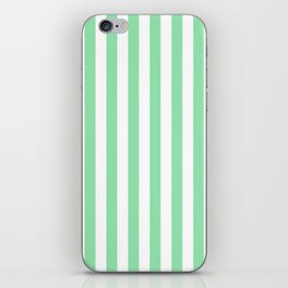Large Mint Green and White Vertical Cabana Tent Stripes iPhone Skin