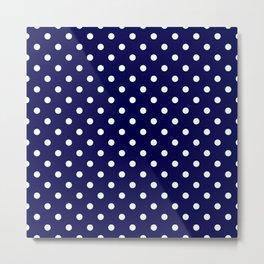 Pattern Pois Blanc/Marine Metal Print