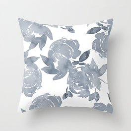 Blue Peonies watercolor Throw Pillow