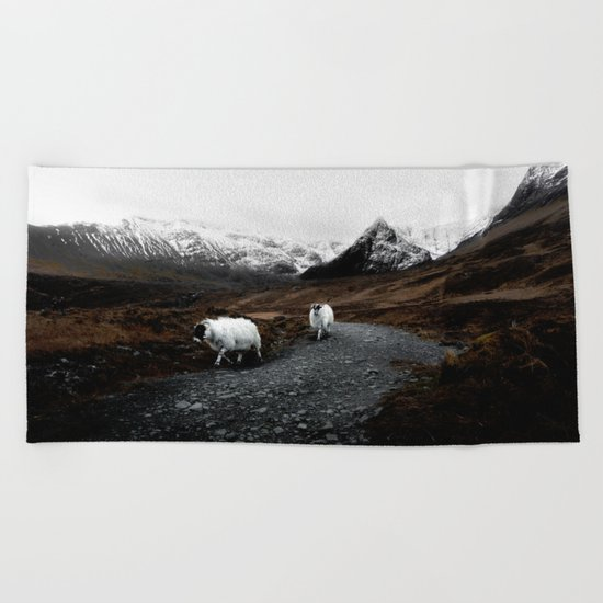 SHEEP - MOUNTAINS - SNOW - ROAD - PHOTOGRAPHY - FUNNY Beach Towel