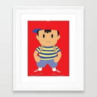 earthbound Framed Art Prints featuring Ness - Earthbound - Super Smash Brothers - Minimalist by Adrian Mentus