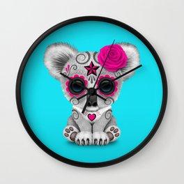 Pink and Blue Day of the Dead Sugar Skull Baby Koala Bear Wall Clock